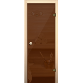 Дверь для бани и сауны Бронза (Стекло глянцевое)